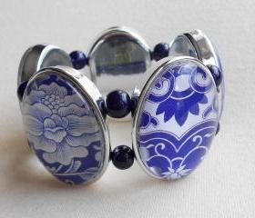 Blue and White Graphic Stretch Bracelet
