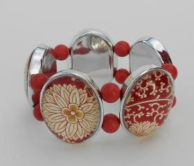 Rust Red & Cream Bracelet